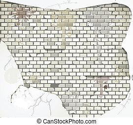 parete, mattone, vecchio, sporco, fondo