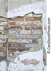 parete, mattone, vecchio, struttura