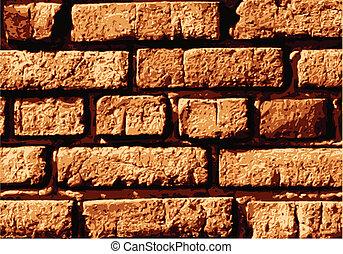 parete, mattone, vettore