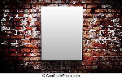 parete, mattone, vuoto