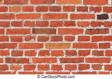 parete, mattoni, rosso