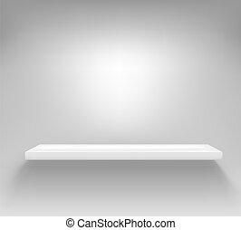 parete, mensola, bianco, vuoto, appendere