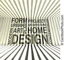 parete, moderno, disegno, interno, parole, architettura
