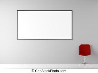parete, moderno, interno, vuoto, tabellone, sedia, rosso