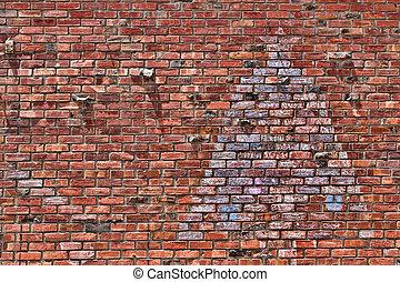 parete, multi-colore, mattone, sfondo rosso