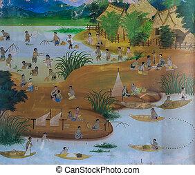 parete, murale, metodo, tradizionale, pesca, tailandese, pittura, tempio