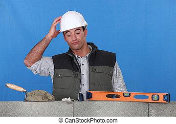parete, muratore, stato piedi, incompiuto, confuso