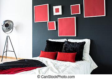 parete, nero, letto