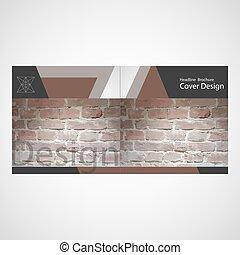 parete, opuscolo, mattone, vettore