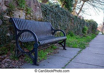 parete, panchina, contro, ciottolo