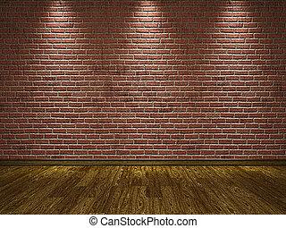 parete, pavimento, legno, mattone