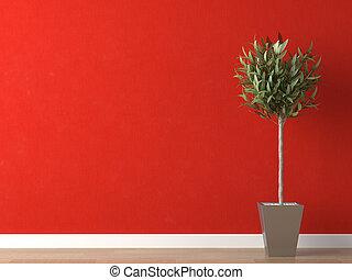 parete, pianta, dettaglio, rosso