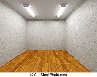 parete, piccolo, stanza, cemento