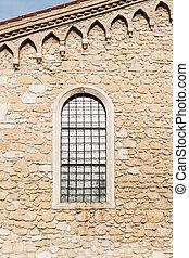 parete, pietra, antico, finestra, arched