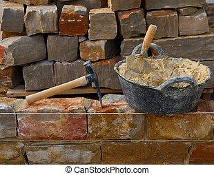 parete, pietra, costruzione, attrezzi, muratura