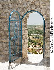parete, pietra, porta