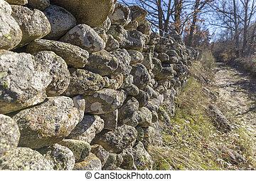 parete, pietra, vecchio, prato
