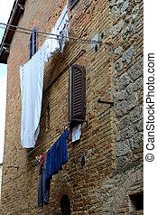 parete, pietra, vestiti, mattone, appendere