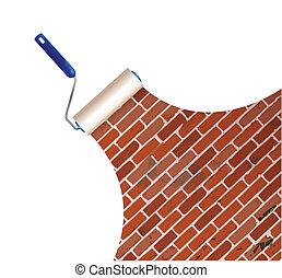 parete, pittura, mattone, disegno, illustrazione
