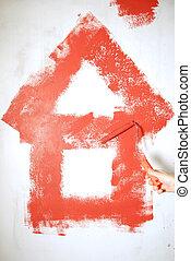 parete, pittura, rotolo