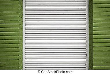 parete, porta, bianco, verde