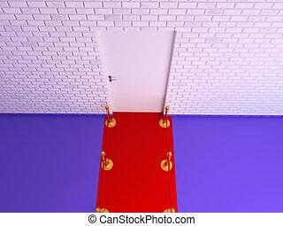 parete, porta, vip, vecchio