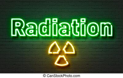 parete, radiazione, segno neon, fondo., mattone