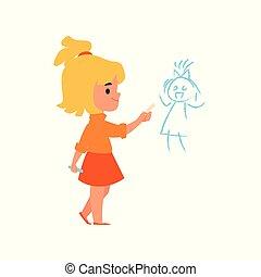 parete, ragazza, bambini, isolated., comportamento, illustrazione, cattivo, vettore, disegnare, bambino