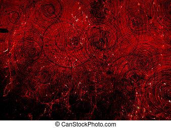 parete, ragnatele, nero, spirale, rosso