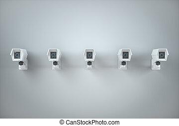 parete, rendering., monitor, bianco, 3d