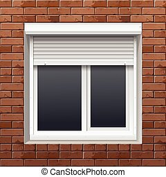 parete, rimbombante, finestra, mattone, otturatori