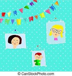 parete, ritratti, bambini, cornici