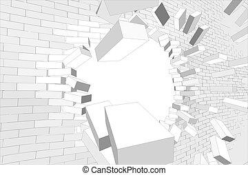 parete, rotto, bianco, parte, buco