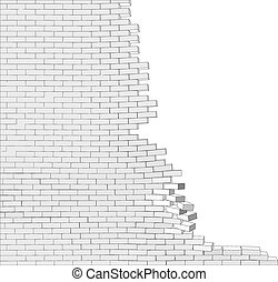 parete, rotto, bianco
