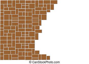 parete, rotto, blocco
