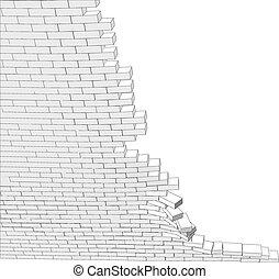 parete, rotto, parte