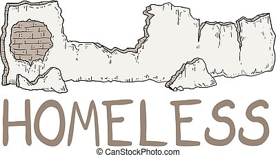 parete, rotto, senzatetto, illustrazione