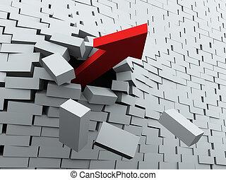 parete, rottura, freccia, 3d