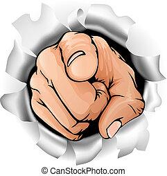 parete, rottura, indicare, mano