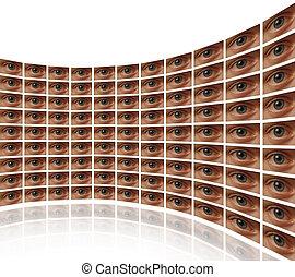 parete, schermi, occhi,  video, curvo