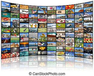 parete, schermo tv, video