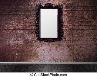 parete, scuro, cornice, vecchio
