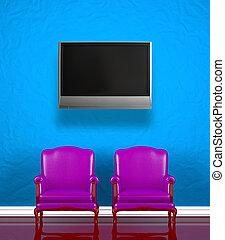 parete, sedie, due, blu