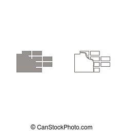 parete, set, grigio, icona