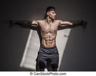 parete, shirtless, muscolare, proposta, contro, uomo, bello