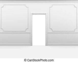 parete, stanza bianca, vuoto, skirting