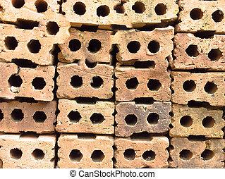 parete, su, struttura, fondo, chiudere, mattone