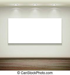 parete, tabellone, interno, appendere, vuoto