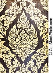 parete, tailandese, pittura, tempio