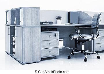 parete, tavola, sedia, bianco